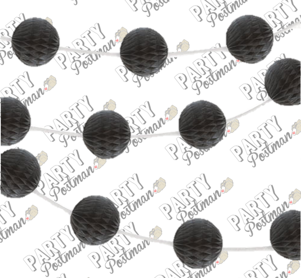Black Honeycomb Ball Garland - 7FT - The Party Postman