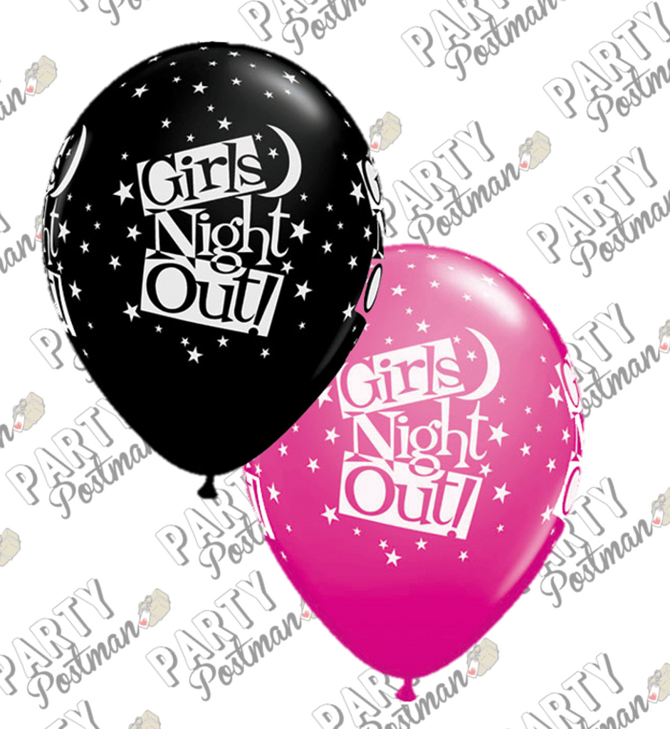 11 inch Black & Pink Hen Night Balloons - The Party Postman