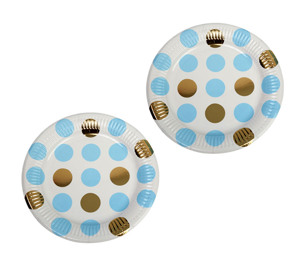 Blue, White and Gold Polka Dot Plates