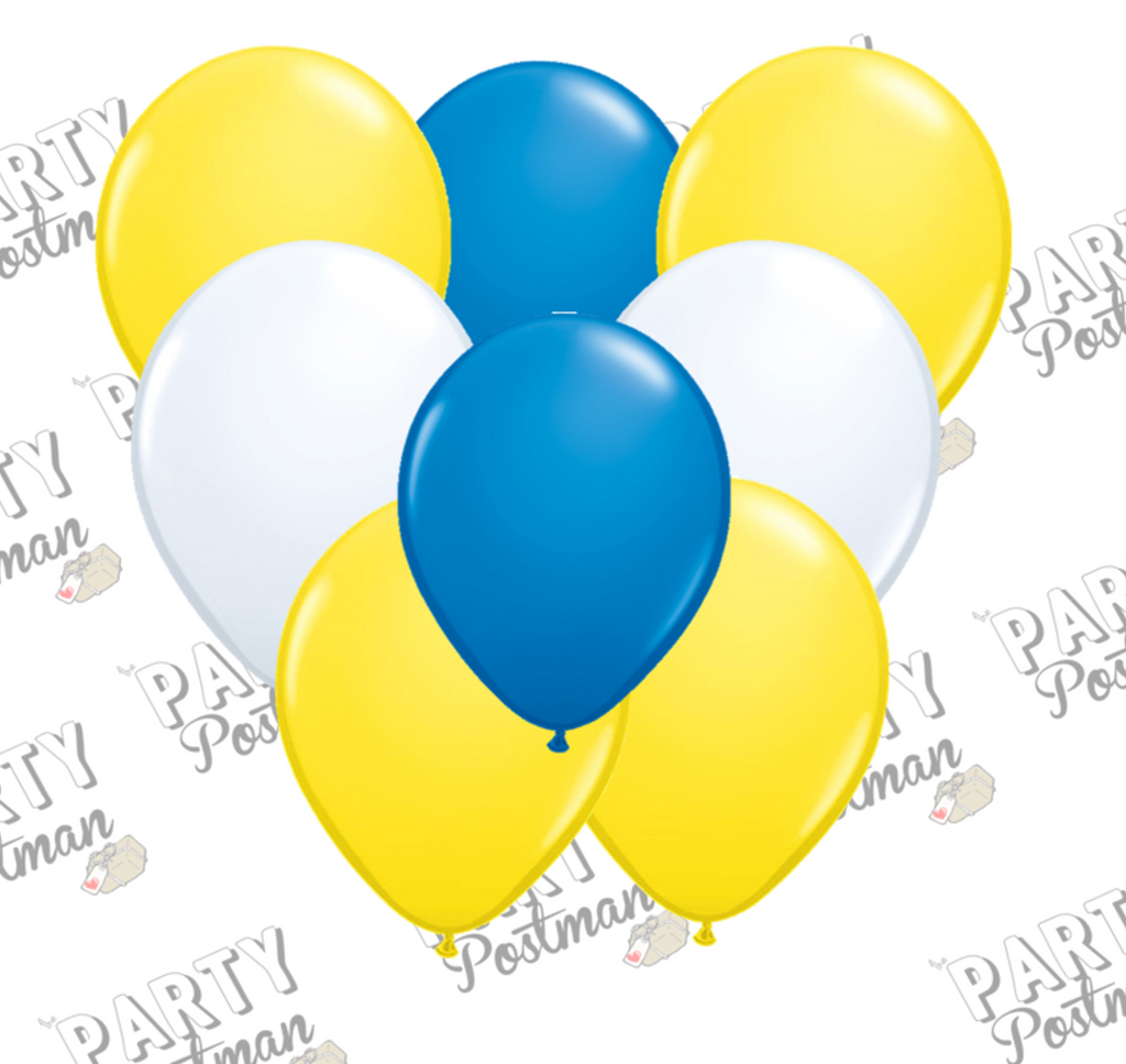 11 inch Blue, White and Yellow Balloons - The Party Postman