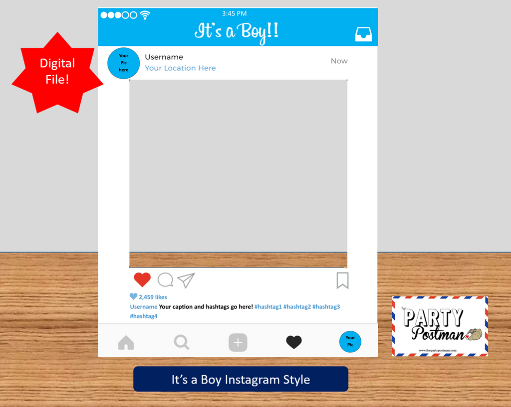 Baby Boy Instagram Frame Photo Booth Prop Instagram Prop (Digital File Only) - The Party Postman