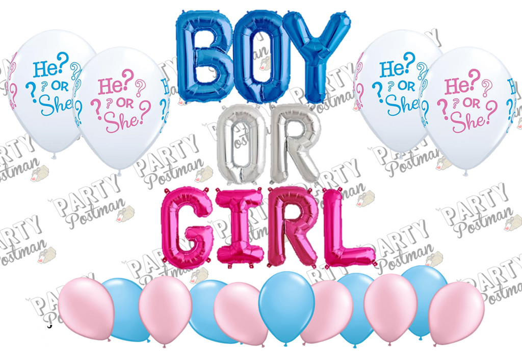 Boy or Girl Balloon Cluster Party Pack - The Party Postman
