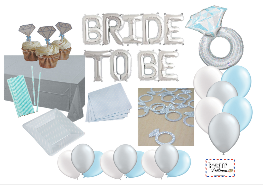 Silver and Blue Engagement Ring Party Pack - The Party Postman