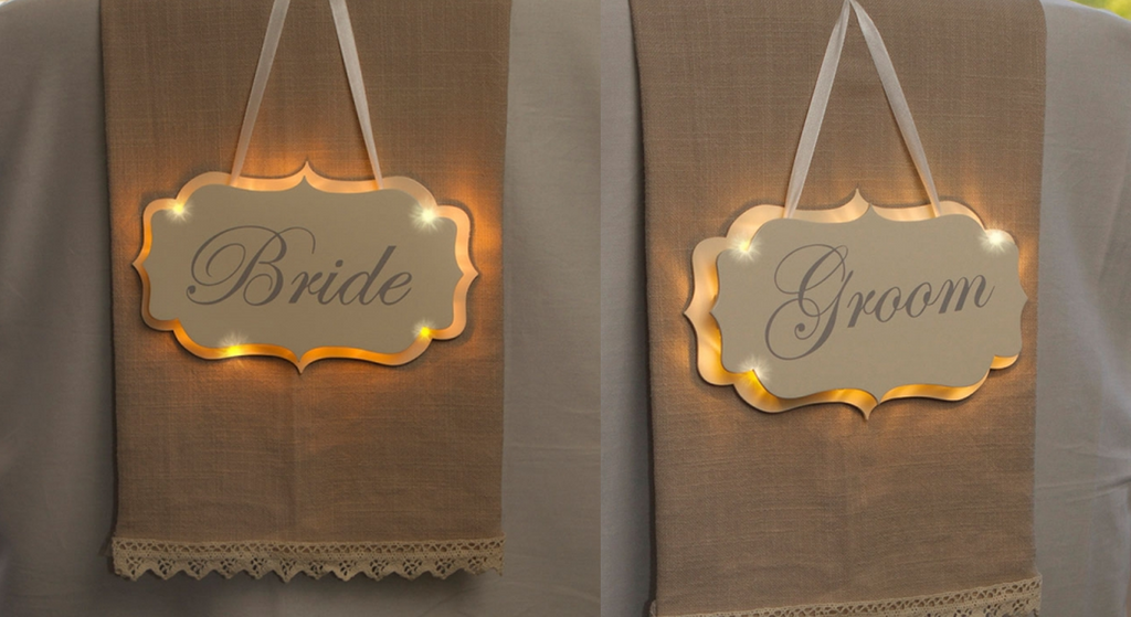 Bride & Groom Illuminated light up signs for wedding