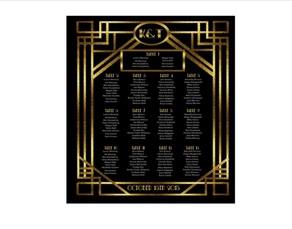 1920s Printable Seating Chart for Wedding in the Style of Great Gatsby - Digital File - The Party Postman