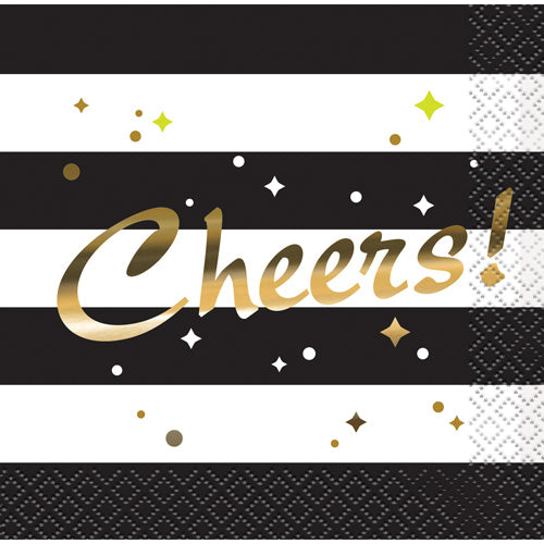 Gold Foil 'Cheers' Black and White Party Napkins