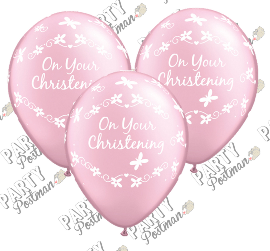 11 inch Pink Christening Balloons - The Party Postman