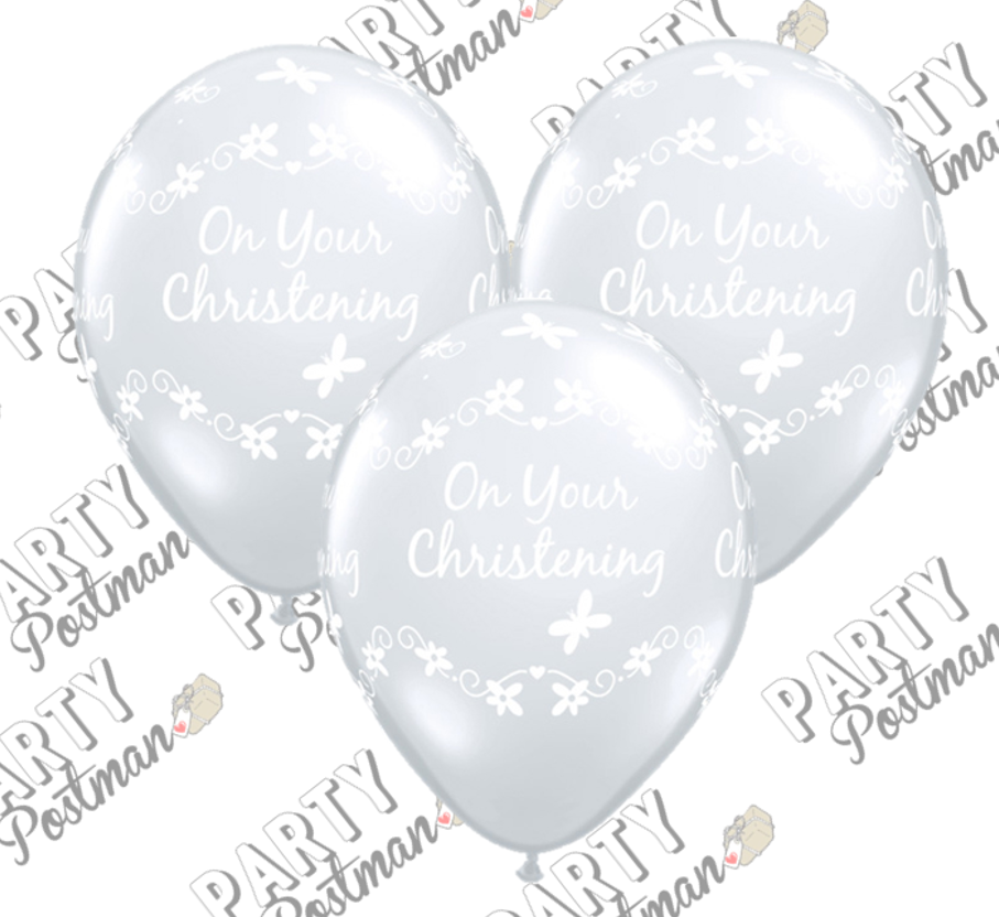 11 inch Clear Christening Balloons - The Party Postman