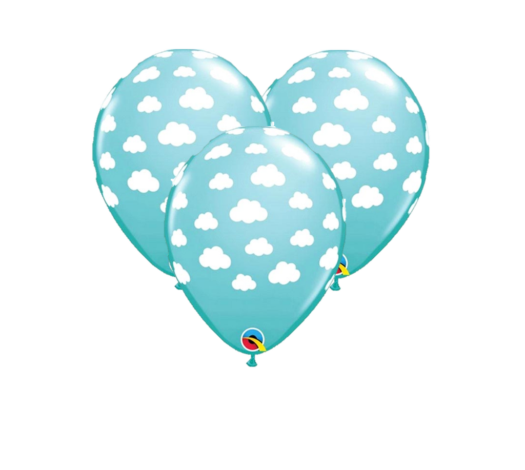 Teal Cloud Printed Latex Balloons