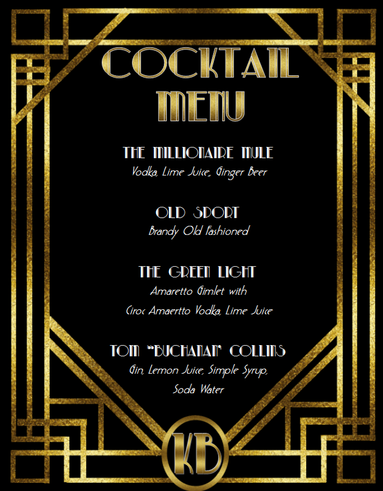 1920s Printable Cocktail Sign for Party in style of Great Gatsby - Digital File - The Party Postman