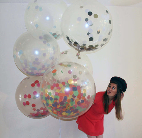 Confetti Filled Giant Round Balloons - Gold, Red, Purple Hot Pink - The Party Postman