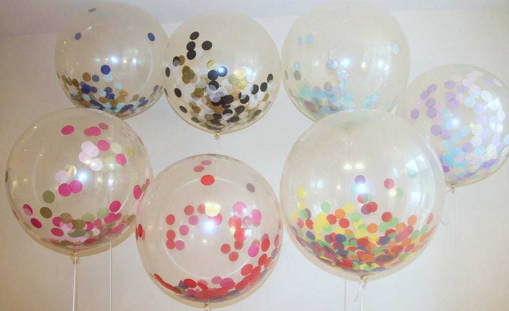 Confetti Filled Giant Round Balloons, Multi Coloured - Yellow, Green, Purple, Red, Orange and Blue - The Party Postman