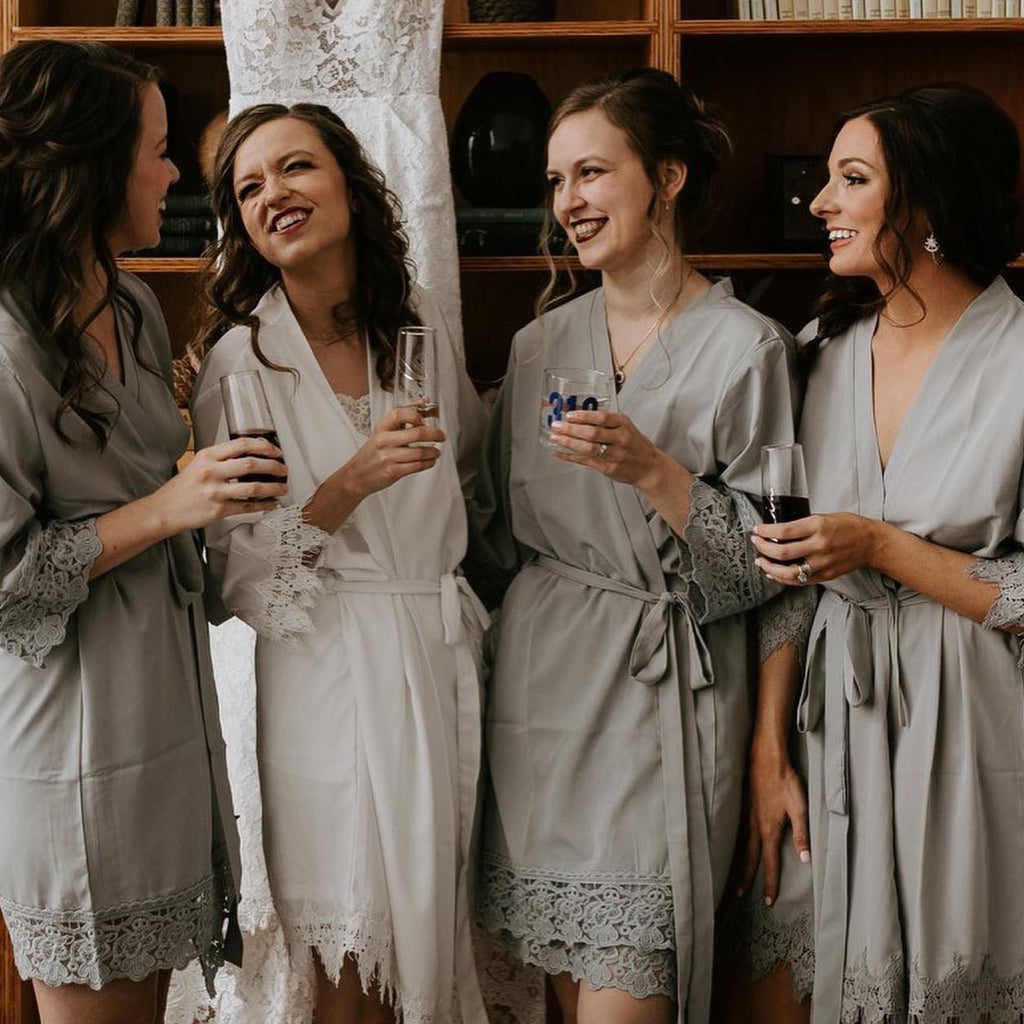 Crochet Lace Satin Personalised Bridesmaid / Bridal Robes