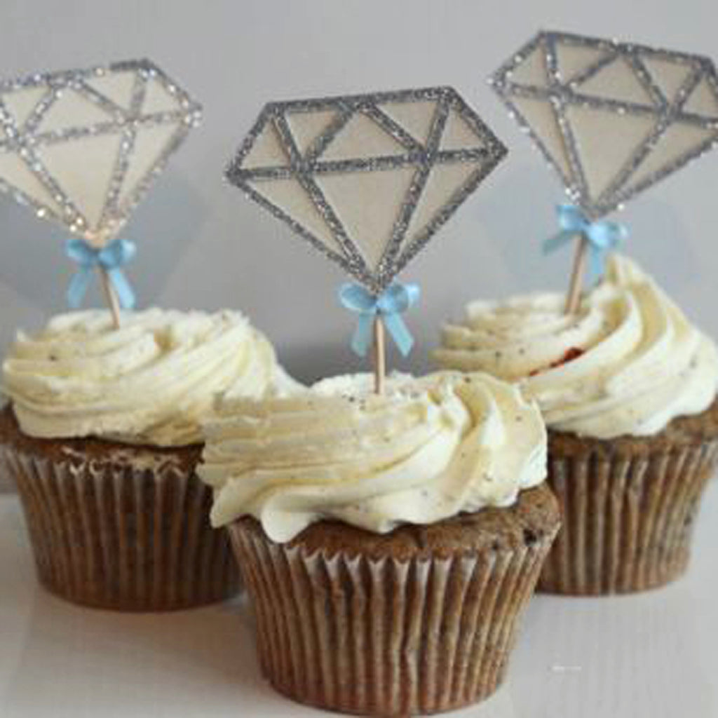 Diamond Engagement Cupcake Toppers
