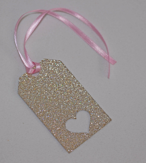 Pink and Gold Heart Glitter Tags - The Party Postman