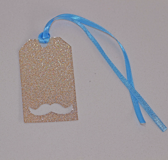 Blue and Gold Mustache Glitter Tags - The Party Postman