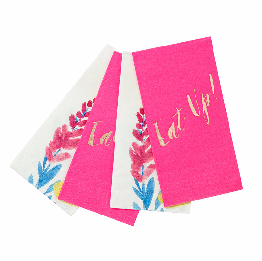 Fluorescent Floral Duo Napkin Gold Foil with Eat up - The Party Postman