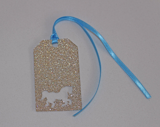 Blue and Gold Carosel Horse Glitter Tags - The Party Postman