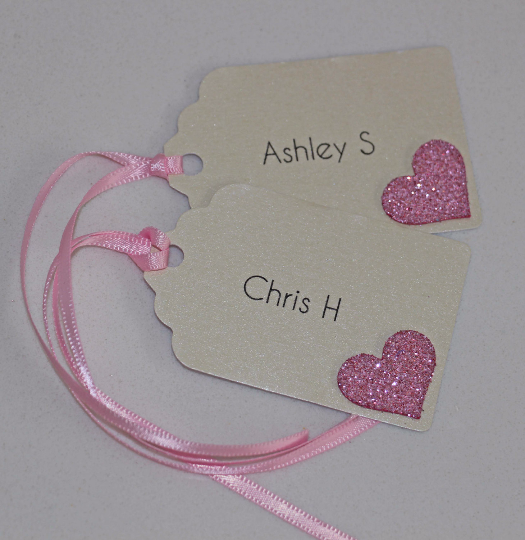 Glitter Heart Name Tags - The Party Postman