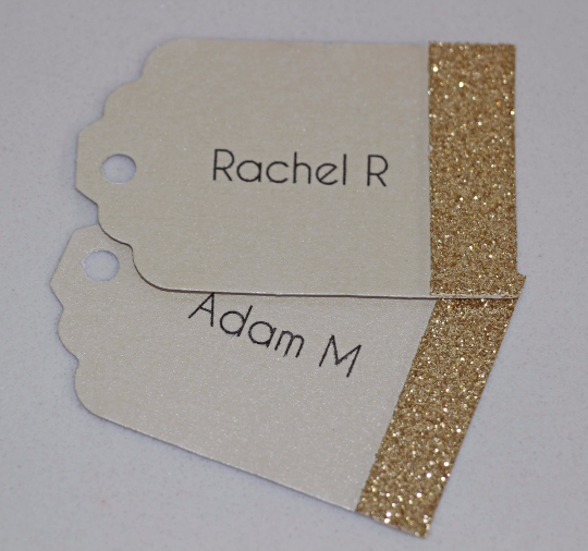 Gold Glitter Wedding Name Tags - The Party Postman