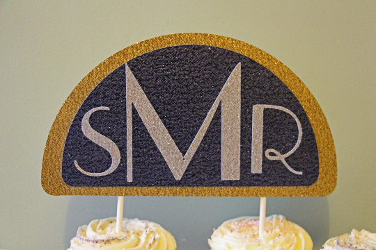 Great Gatsby Inspired Initial Wedding Cake Topper - The Party Postman