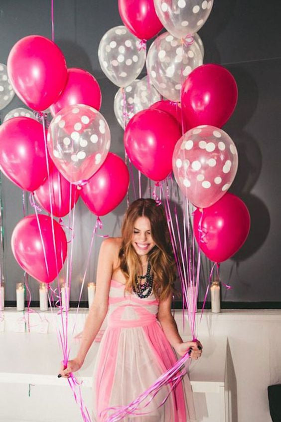 Bright Pink and Clear White polka dot party balloon decorations - The Party Postman