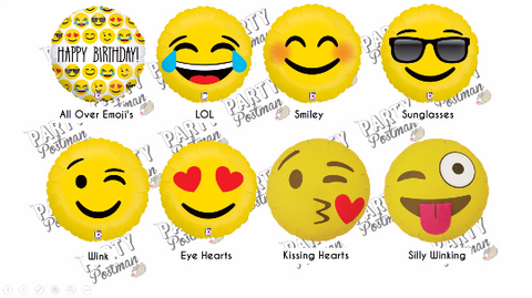 "18"" Emoji Fun Balloons - The Party Postman"