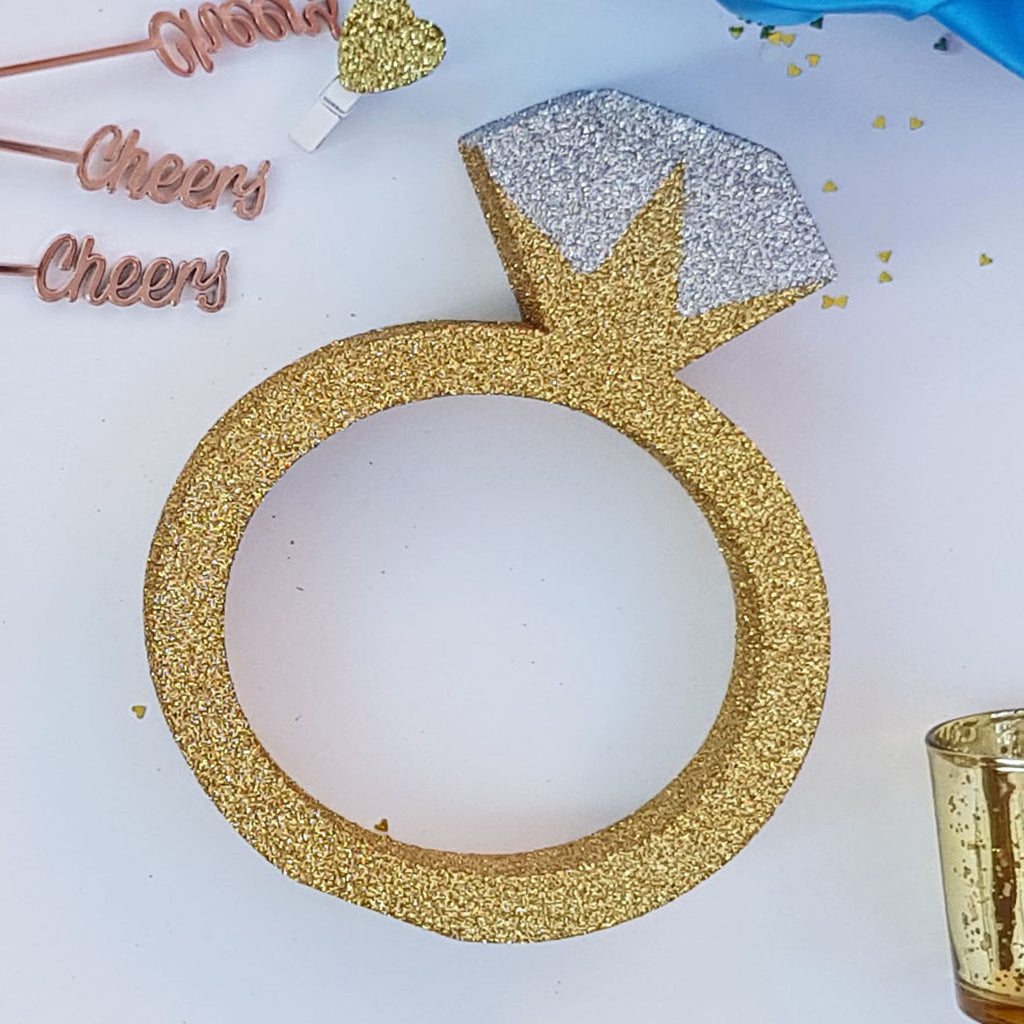 Gold Glitter Engagement Ring Table Centerpiece for Engagement Party, Bachelorette or Hen Do