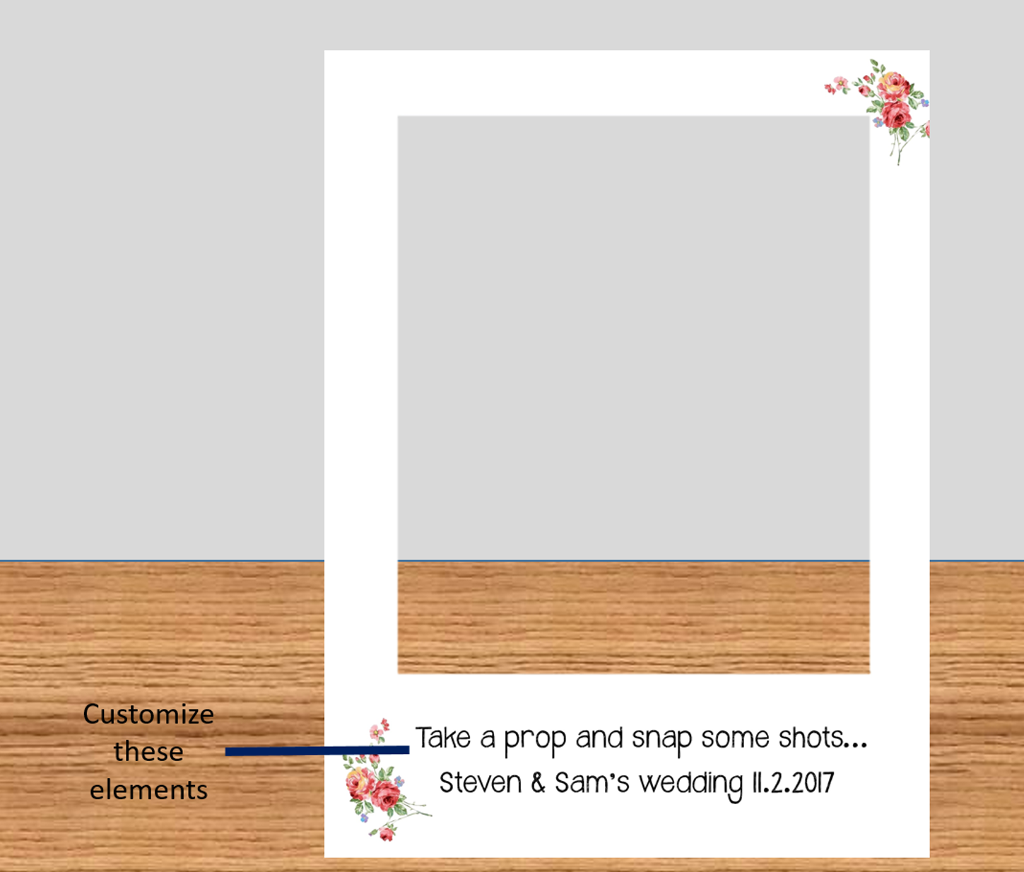 Floral Polaroid Frame Photo Booth Prop with custom wording (Digital ...