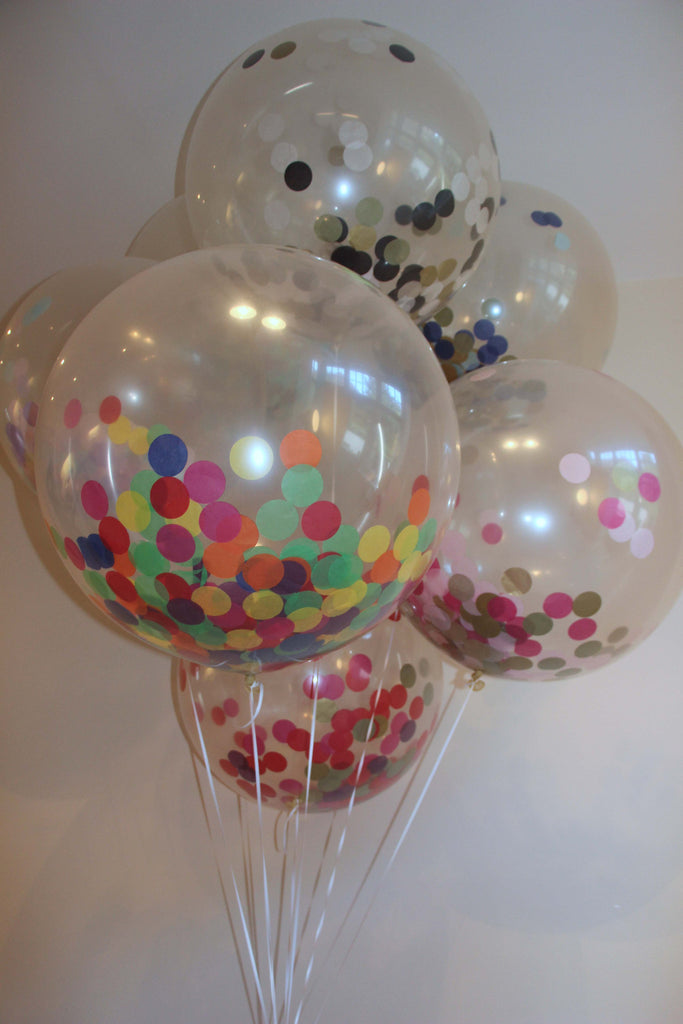 Giant Round Confetti Balloons with Tassels - Choose your Colour Options - The Party Postman