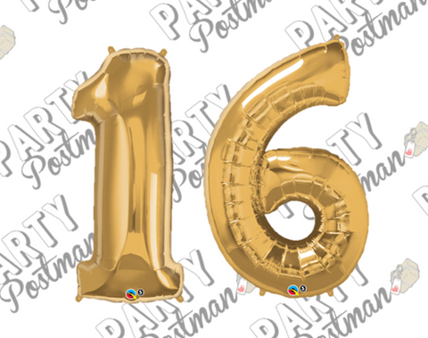 Number 16 Large Foil Number Balloons - The Party Postman