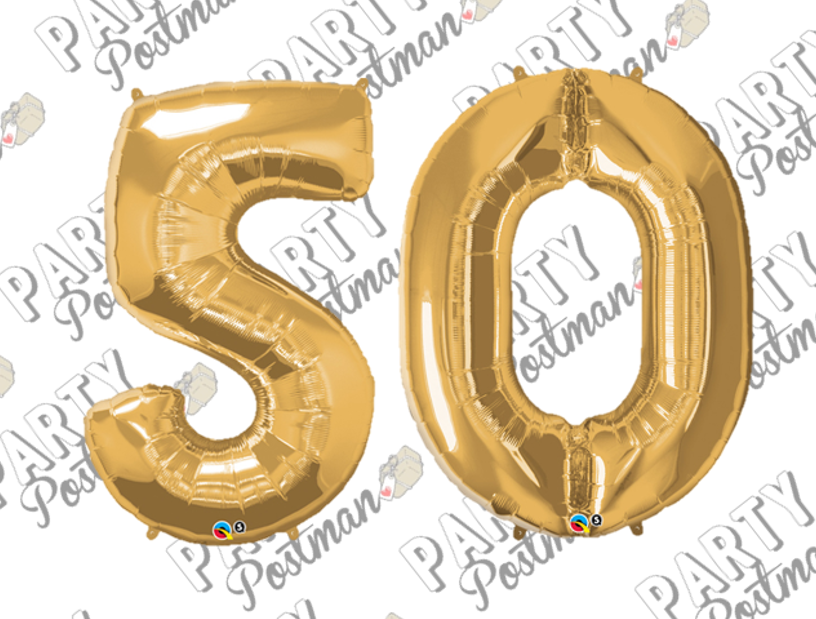 Number 50 Large Foil Number Balloons - The Party Postman