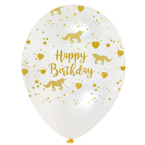 Gold and Clear Happy Birthday Unicorn Latex Balloons