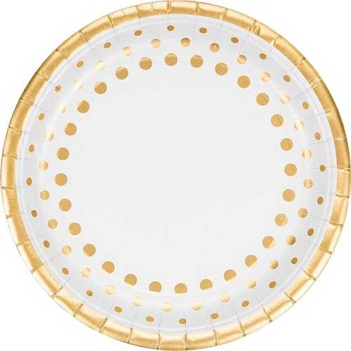 Gold Foil Paper Party Plates With a Dot Design
