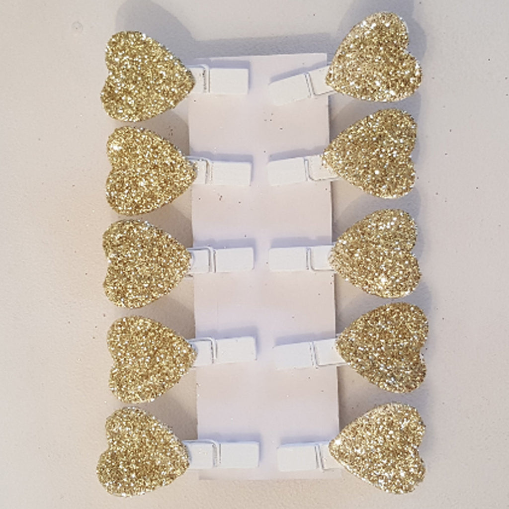 Mini Gold Glittered Heart Pegs
