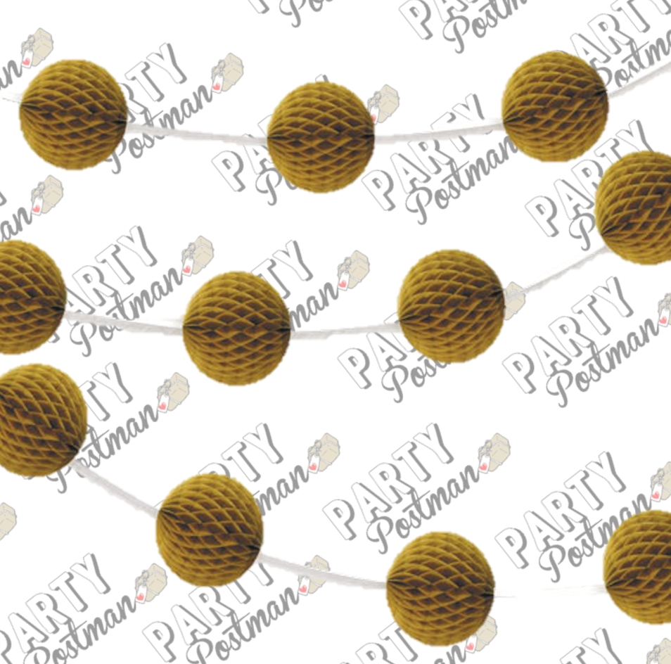 Gold Honeycomb Ball Garland - 7FT - The Party Postman