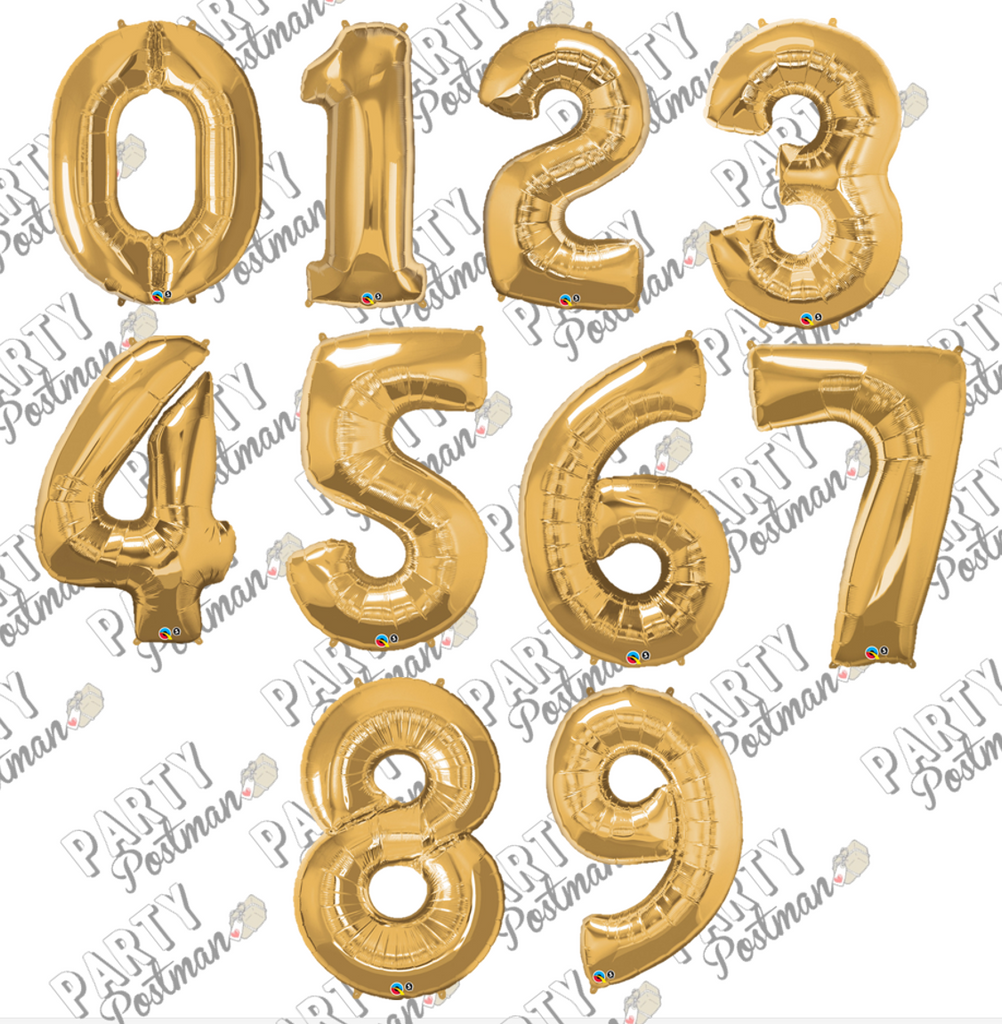 Gold Large Foil Number Balloons - The Party Postman