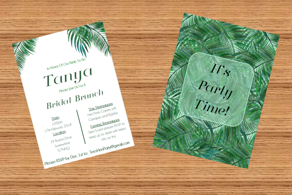 Bachelorette / Hen Party Printable Invitation in Greenery Eucalyptus Floral Design- Digital File