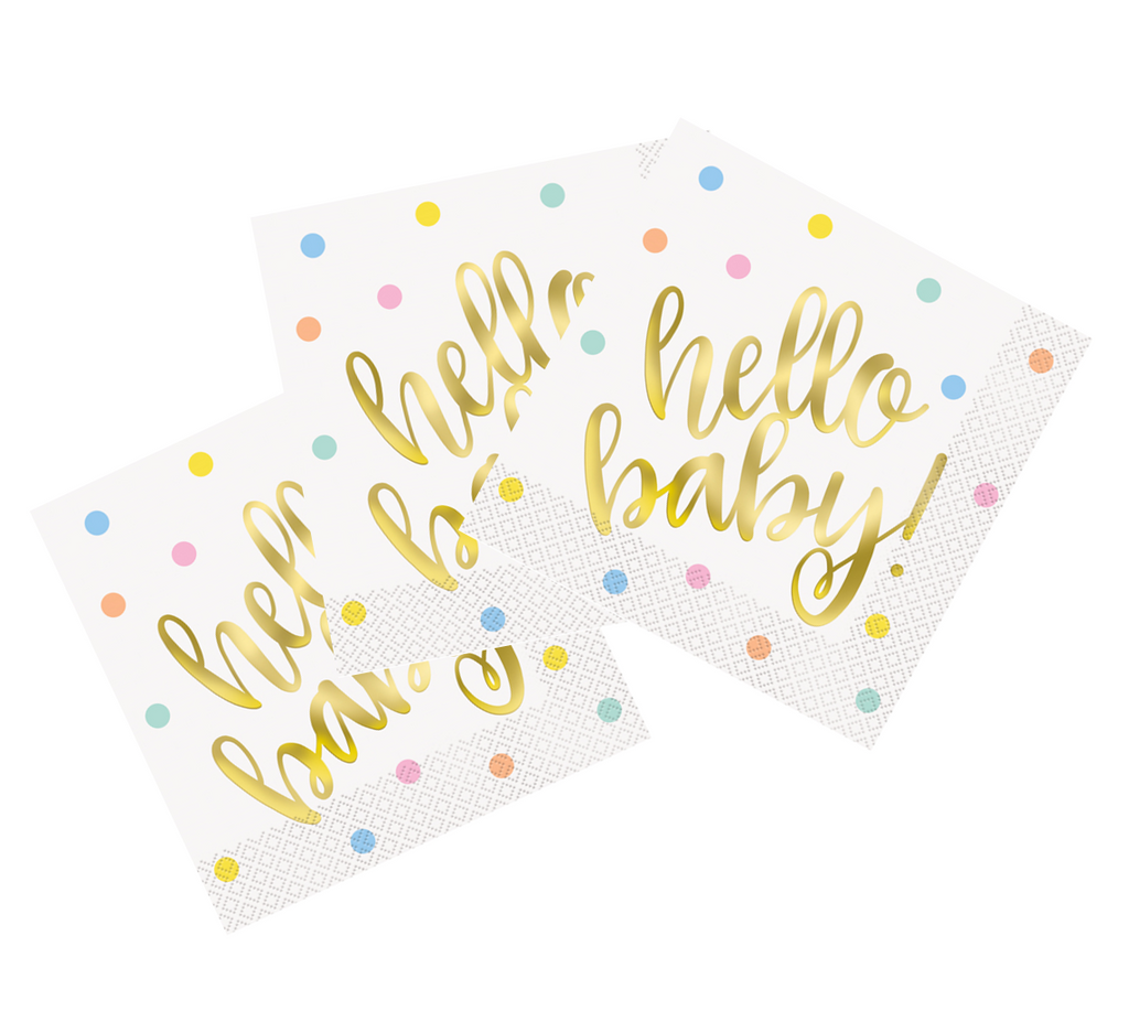Gold Foil Hello Baby Napkins