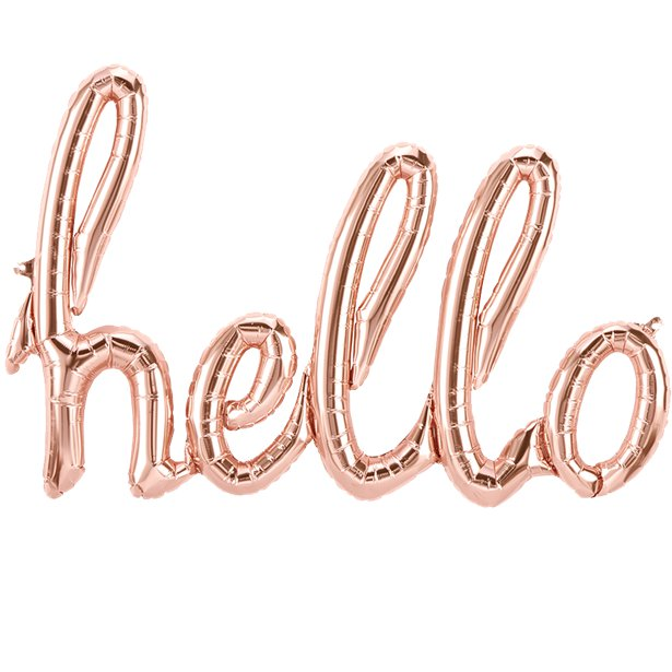 Rose Gold Balloon Banner in script writing 'Hello' mylar wedding balloons