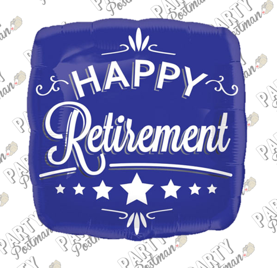 "18"" Blue Retirement Balloon - The Party Postman"