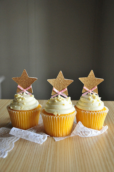 Glitter & Bow Star Cupcake Toppers - The Party Postman