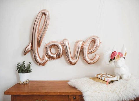 Rose Gold Balloon Banner in script writing 'Love' mylar wedding balloons - The Party Postman