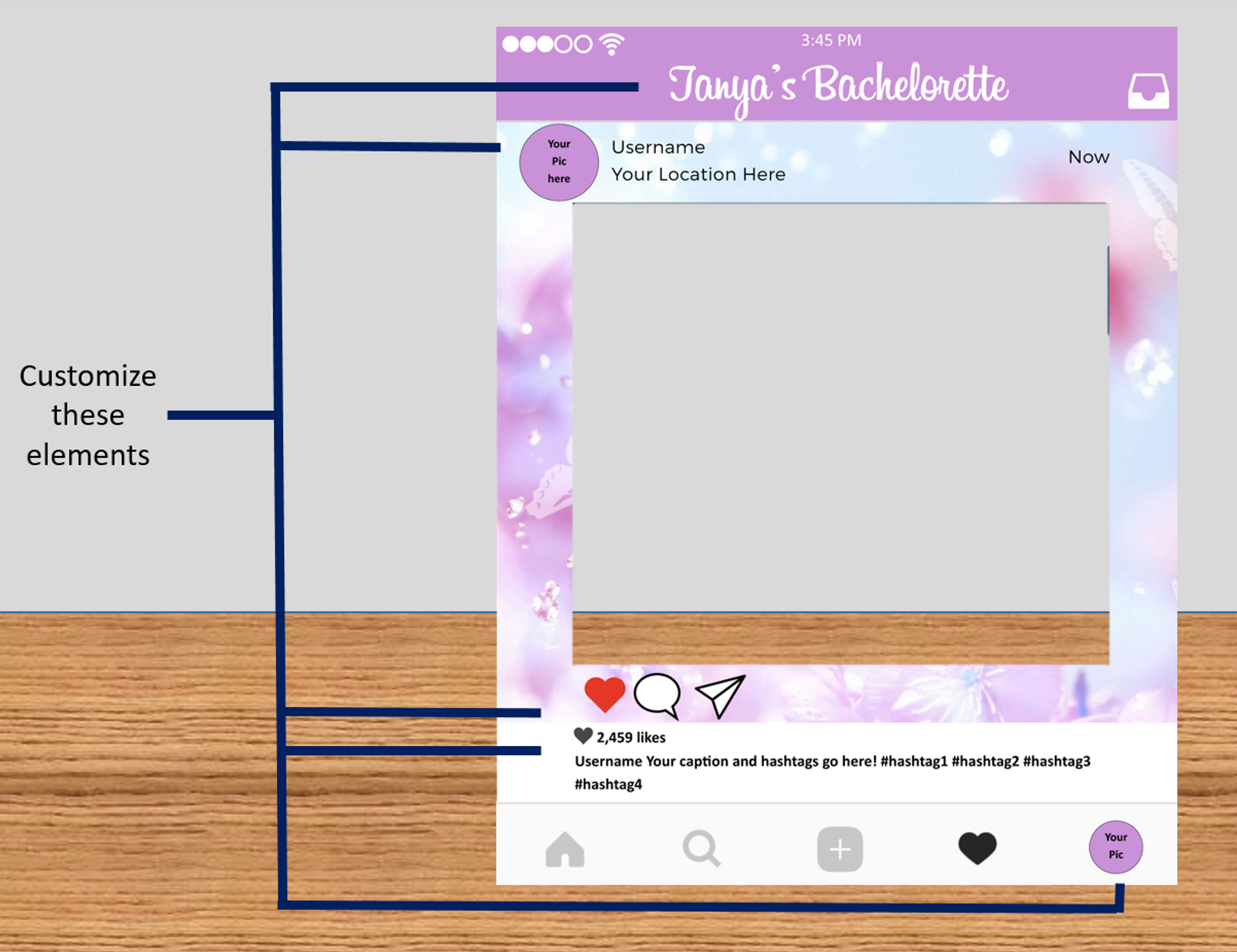 Instagram Frame In Purple Design Photo Booth Prop Digital File Only