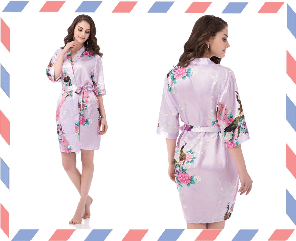 Light Purple Floral Personalised Bridesmaid / Bridal Robe