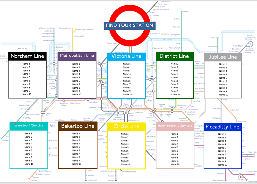 London Tube Map Table Seating Plan for Weddings Birthdays Parties - The Party Postman