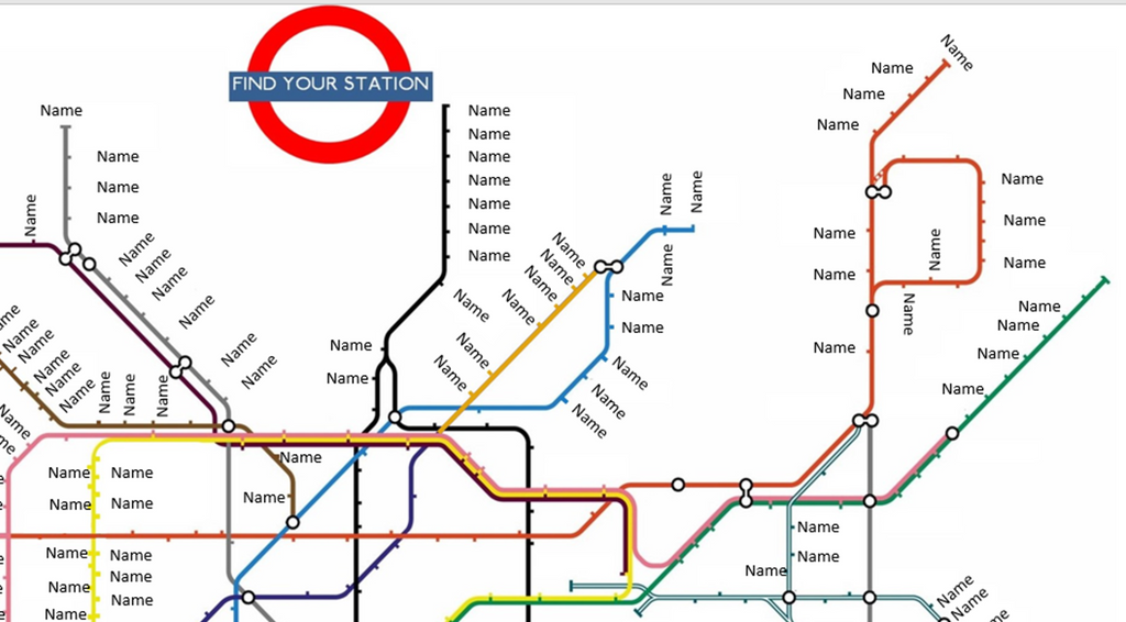 London Tube Map Table Seating Plan with Stations for Weddings Birthdays Parties - The Party Postman