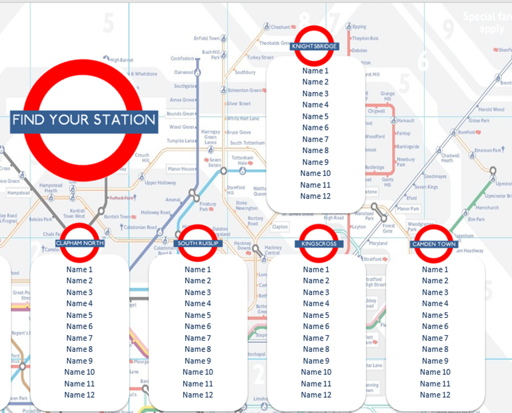 London Tube Map Seating Plan with Stations for Weddings Birthdays Parties - The Party Postman