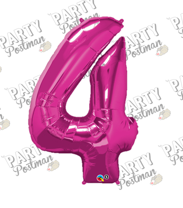 Magenta Large Foil Number Balloons - The Party Postman