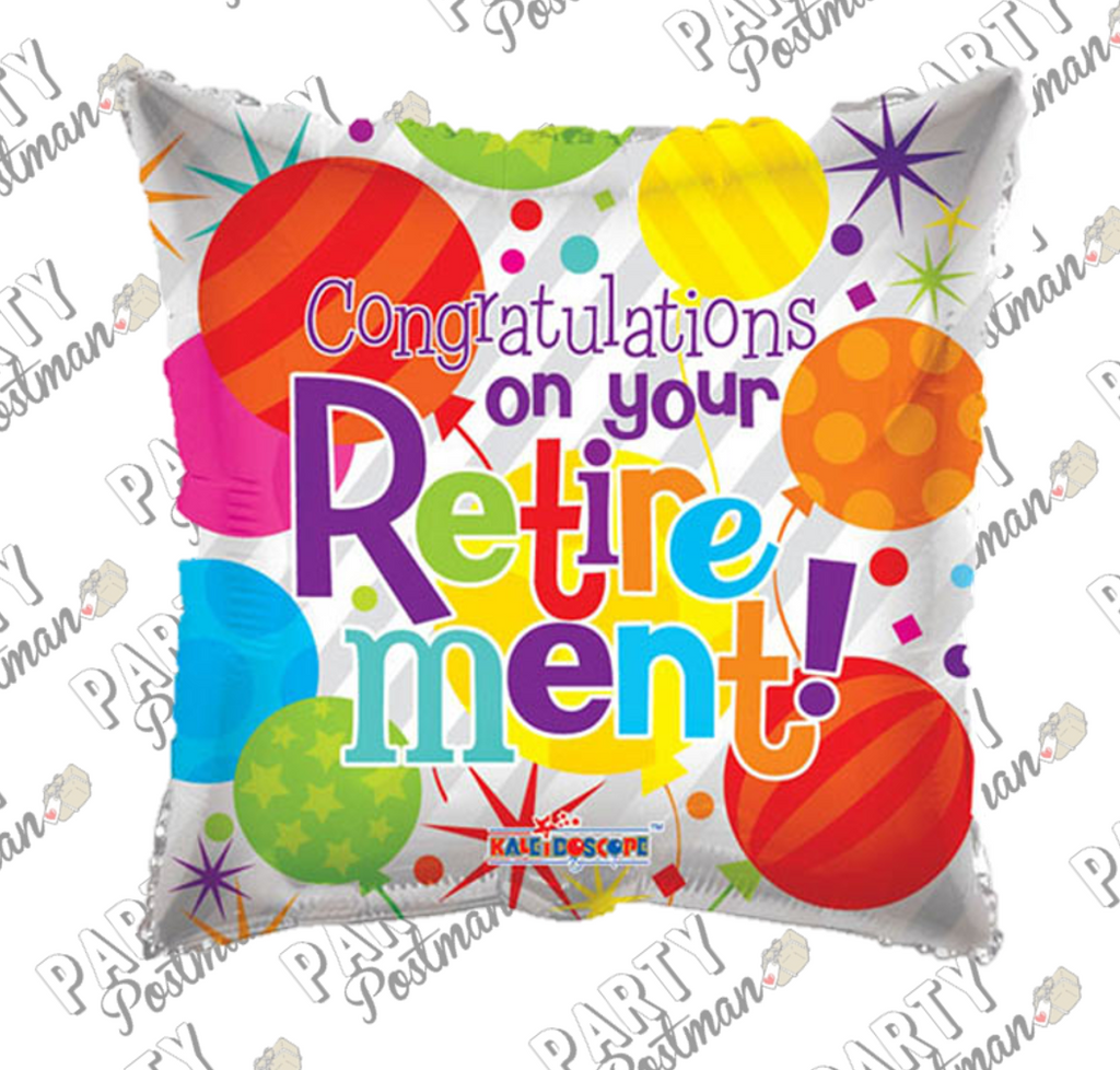 "18"" Multi Coloured Retirement Balloon - The Party Postman"